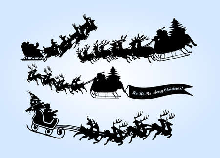 santa in his sleigh with his reindeer Stock Vector - 9433311