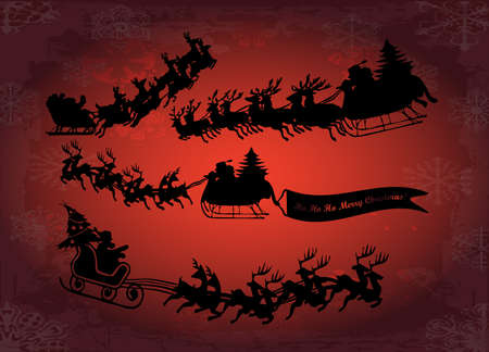 santa in his sleigh with his reindeer Vector