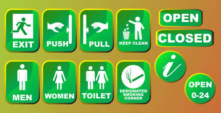 toilette: Information signs set