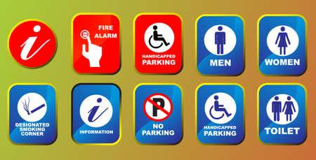 toilette: Information signs set