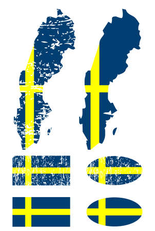 Sweden flag set Stock Vector - 9433309