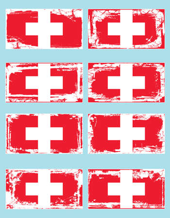 helvetica: Switzerland flag set, vector illustration Illustration