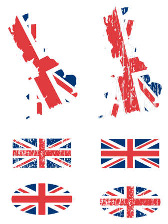 England flag set with grunge , vector Vector