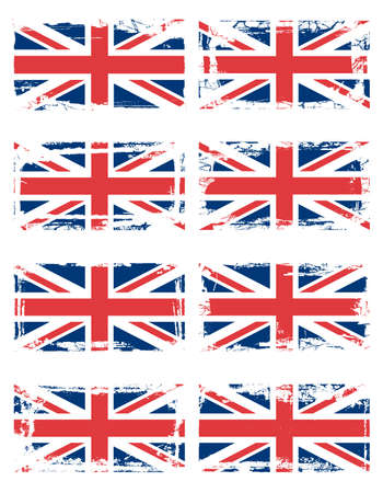 England flag set with grunge borders, vector Stock Vector - 9434443