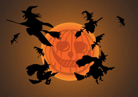 trickster: Witch`s silhouette with pumpkin moon  Illustration