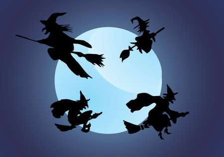 Witch`s silhouette with moon Vector