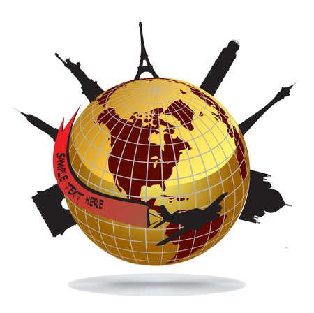 oversea: World landmarks, vector