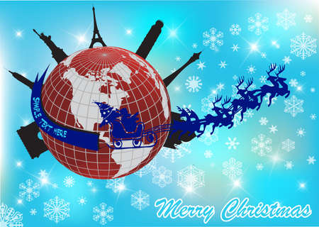 santa in his sleigh with his reindeer around the world  Vector