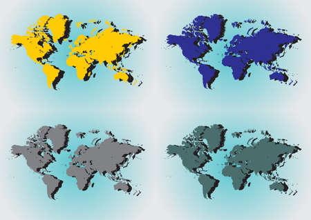 Four world map, vector Stock Vector - 9432460