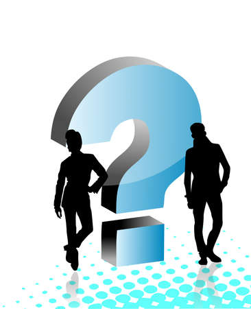 interrogation: Peoples with question sign, vector illustration