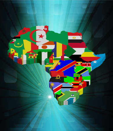 3D outline African map with national flag, vector illustration