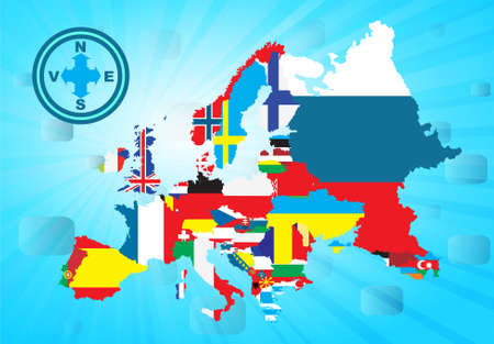 all european flags: Outline European map with national flag, vector illustration