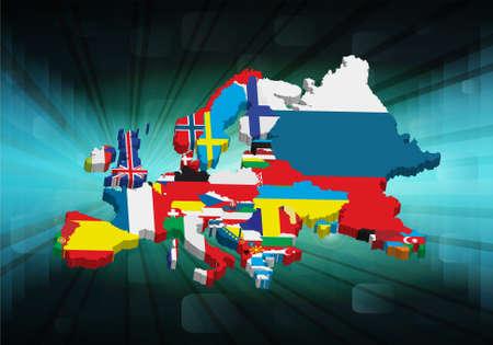 Mapa Europeo de esbozo 3D con la bandera nacional, ilustración vectorial