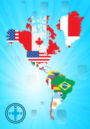 Esquema del Norte y sud americana mapa con bandera nacional, ilustración vectorial  Vectores