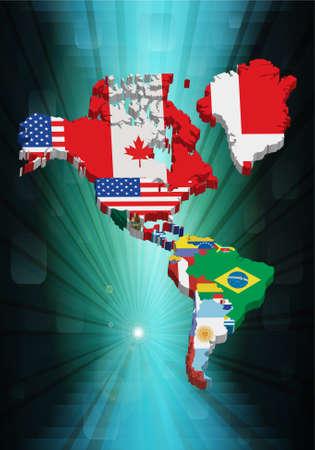 Norte y sud mapa estadounidense de esbozo 3D con la bandera nacional, ilustración vectorial