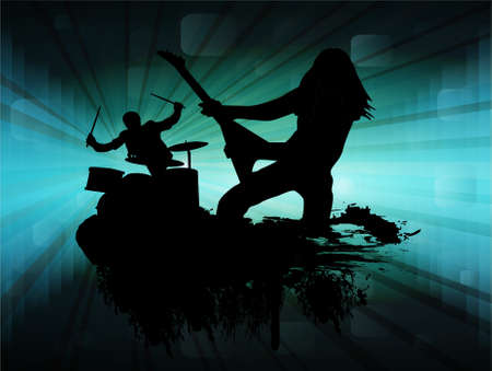 guitarristas: Tema de cantantes de grupo roca, ilustraci�n vectorial