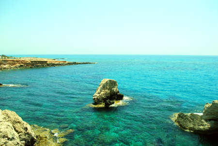 Blue lagoon on Agia Napa beach ( Cyprus island) photo