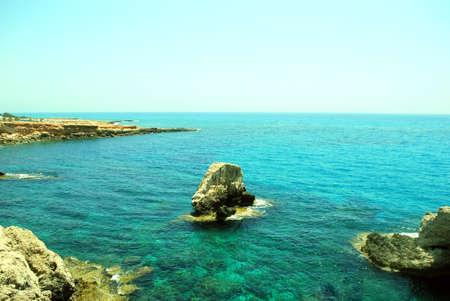 Blue lagoon on Agia Napa beach ( Cyprus island) photo