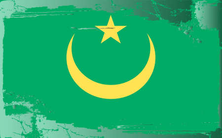 battered: Grunge flag series: Mauritania Illustration