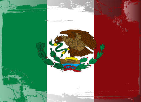 ragged: Grunge flag series: Mexico Illustration