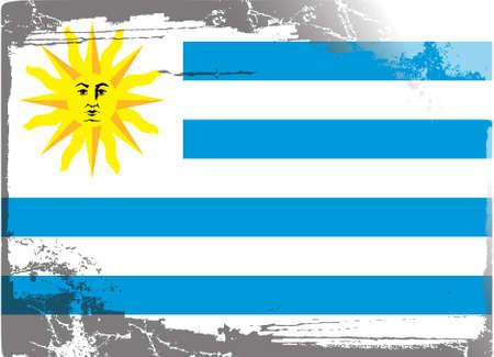 bandera de uruguay: Grunge bandera de serie: Uruguay