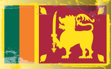 sri: Grunge flag series:Sri Lanka Illustration