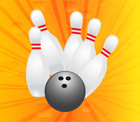 Bowling design in abstract orange background Vector