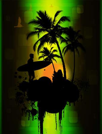 tabla de surf: Fondo tropical, ilustración vectorial