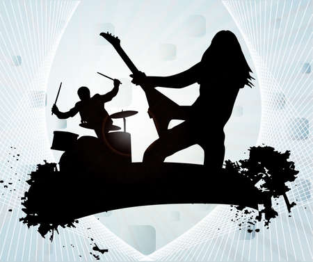 guitarist: Rock band in abstract background, vector illustration