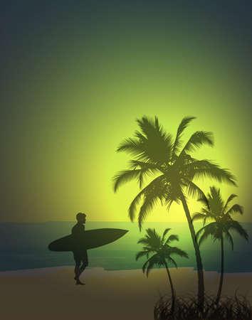 tabla de surf: Fondo tropical, ilustraci�n vectorial