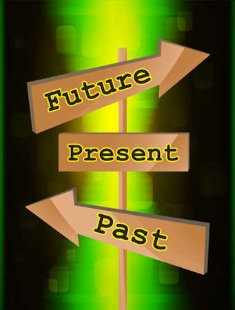 passado: Wood board arrows with future, present and past text, vector illustration  Ilustra��o