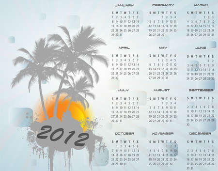mondays: 2012 calendat, vector illustration Illustration