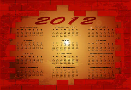 breach: 2012 calendat, vector illustration Illustration