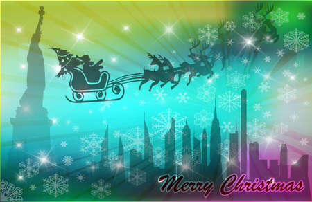 Santa in his sleigh with his rendeer flying above New York, vector illustration Vector