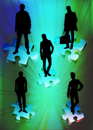 Peoples are standing on colored pieces of 3d puzzle, vector illustration Vector