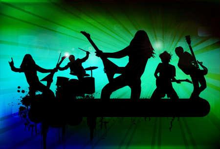 heavy metal music: Rock band a sfondo astratto, illustrazione vettoriale