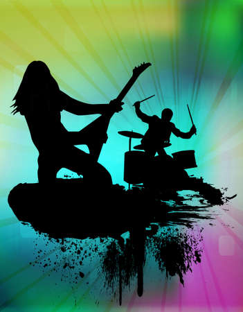 punk rock: Rock band in abstract background, vector illustration