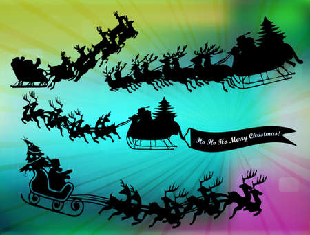 flying hat: Silhouette illustration of flying santa and christmas reindeer in abstract background, vector illustration