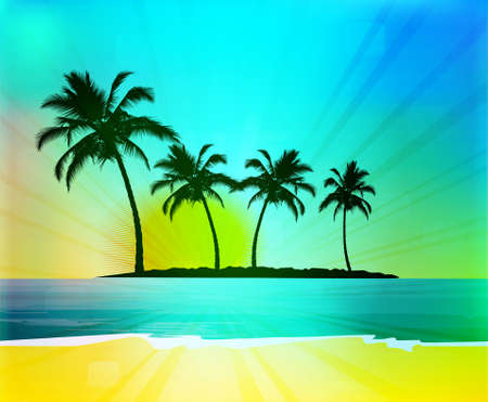 tropical climate: Tropical background with palm trees, vector illustration