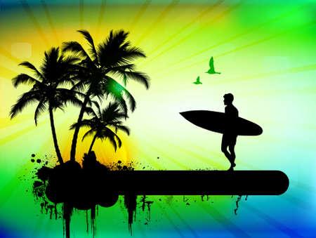 Fondo tropical con surfista en segundo plano abstracto, ilustración vectorial