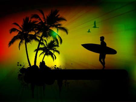 tabla de surf: Fondo tropical con surfista en segundo plano abstracto, ilustración vectorial