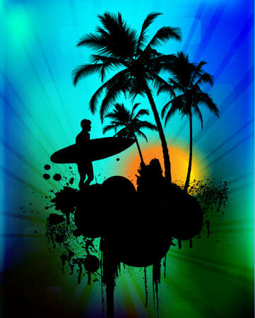 tabla de surf: Fondo tropical con surfista en fondo abstracto, ilustración vectorial