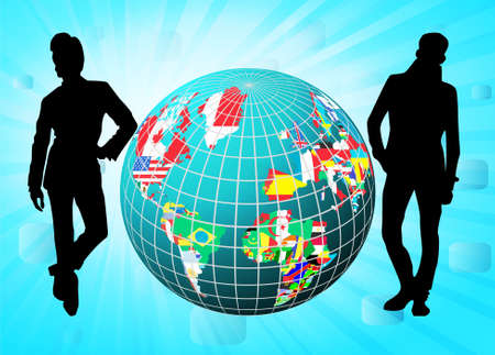 nações: All flags in globe form with business people silhouettes, vector illustration