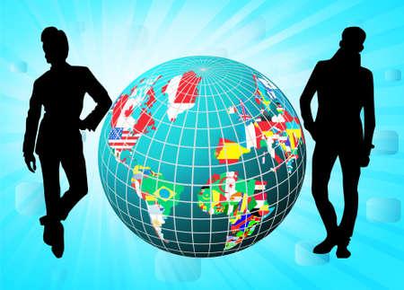 naciones unidas: Todos los indicadores en forma de globo con siluetas de personas de negocios, ilustración vectorial