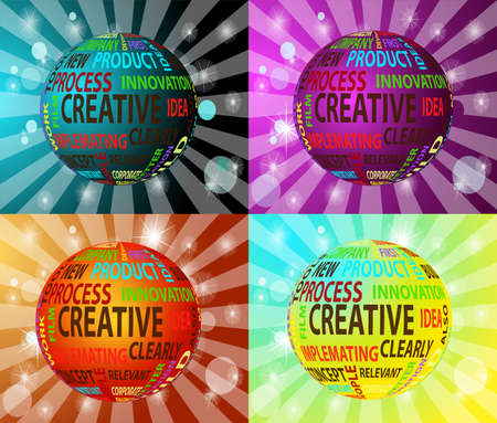 Concept of innovation and creative words in globe form, vector illustration