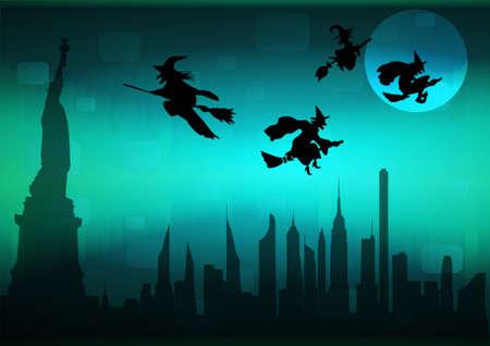 New York cityscape in Halloween night, vector illustration
