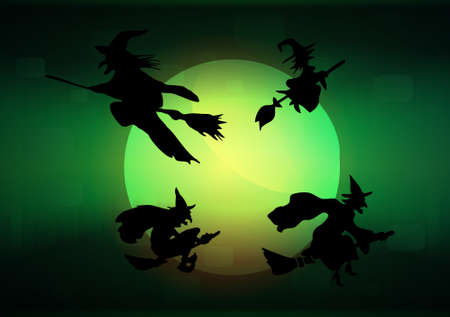 wizardry: Witch`s silhouette with moon, vector illustration