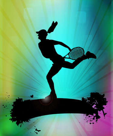tennis serve: Tennis player. Illustration