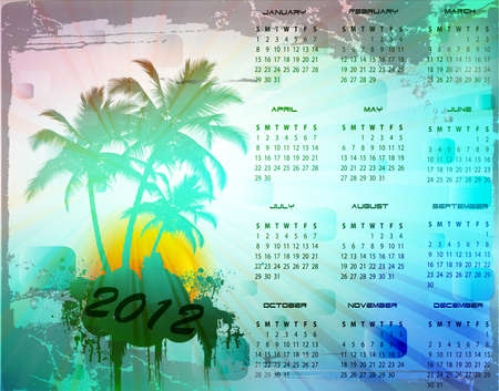 2012 calendar with tropical background, vector illustration