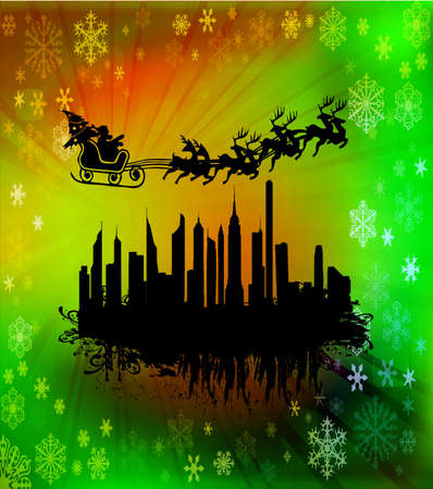 Urban holiday background with flying Santa Clause, vector illustration Vector